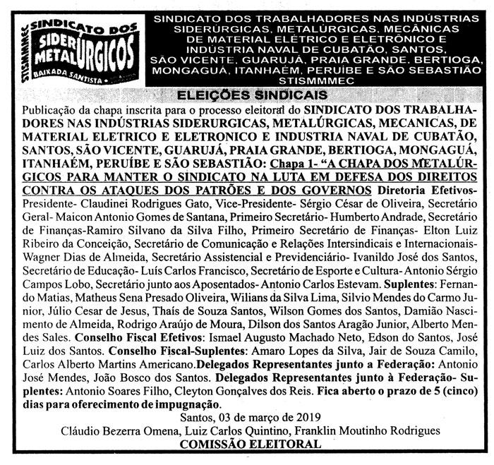 Edital publicado no jornal A Tribuna de Santos do dia 03 de março de 2019 (domingo), na página B4.
