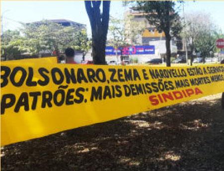 Em Ipatinga (MG), manifestação organizada pelo Sindicato dos Metalúrgicos denuncia os ataques da Usiminas