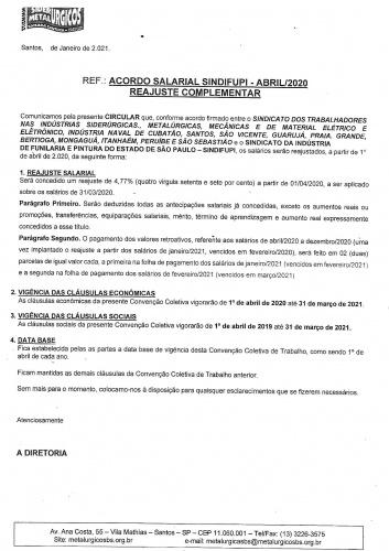 CIRCULAR SINDIFUPI - ABRIL 2020 - REAJUSTE COMPLEMENTAR