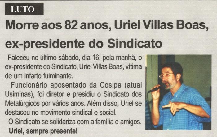 Morre aos 82 anos, Uriel Villas Boas, ex-presidente do Sindicato